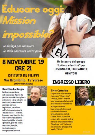 incontro con Silvio Cattarina a Varese - 8 novembre 2019 ore 21.00 presso l'Istituto De Filippi - Via Barmbilla 15