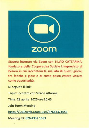 stasera 28 aprile 2020 alle ore 20.45 incontro via ZOOM con Silvio Cattarina
